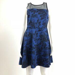 Aqua | Fit-And-Flare Blue Floral Print Dress.